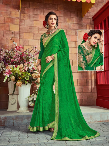Indian Women green color Georgette Saree