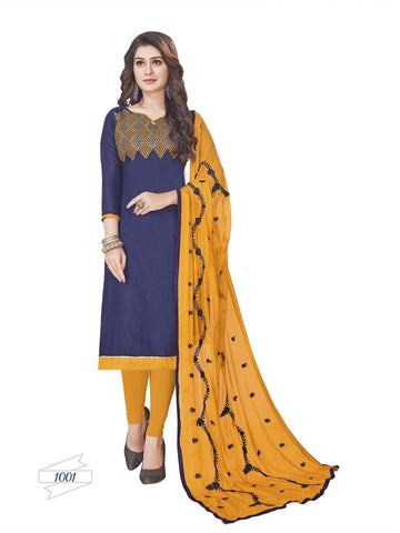 Designer Dark Blue Color Choli Daman Style Straight Cut Suit