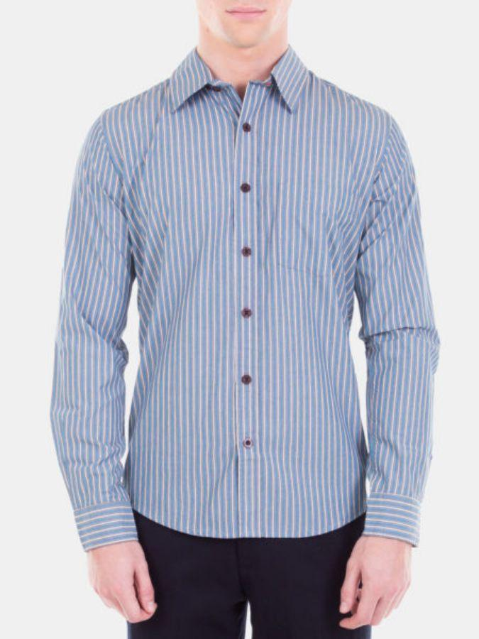 Men's Trendy Striped Cotton Formal Shirt