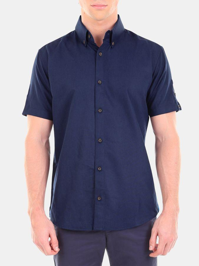 Men's Navy Blue Color Cotton Formal Shirt
