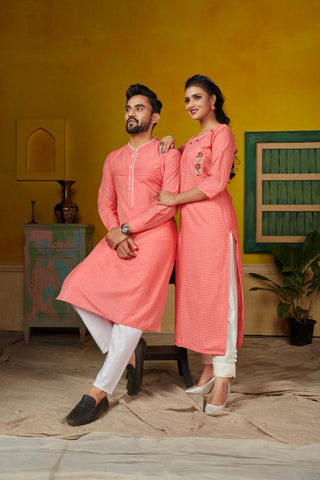 Pink Color Pure Cotton Kurti with Pants -Couple Combo