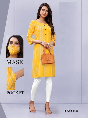 Rayon Printed Kurti With Mask and One Side Pocket