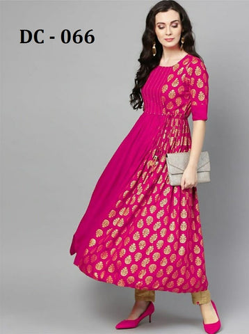 Hot Pink Heavy Rayon Gold Printed Anarkali Kurti