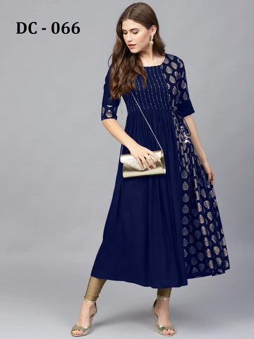 Blue Heavy Rayon Gold Printed Anarkali Kurti