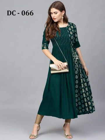 Green Heavy Rayon Gold Printed Anarkali Kurti