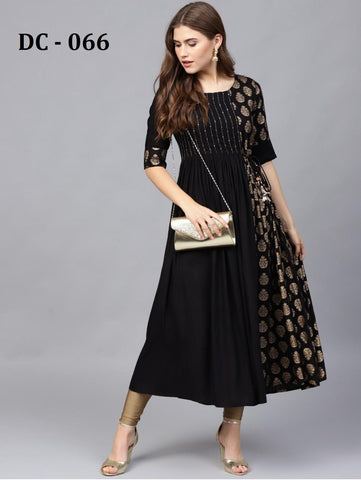 Black Heavy Rayon Gold Printed Anarkali Kurti
