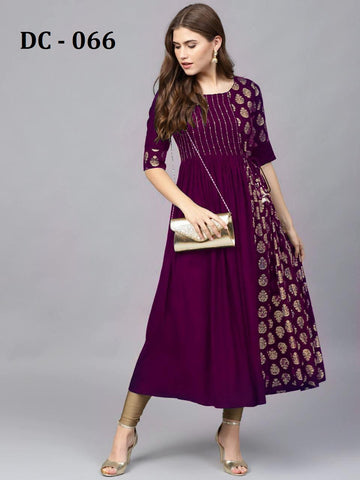 Purple Heavy Rayon Gold Printed Anarkali Kurti