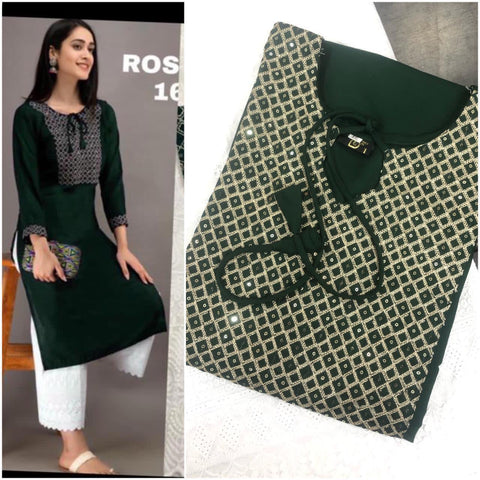 Green Rayon Cotton Embroidered Kurti with Palazzo