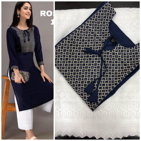 Navy Blue Rayon Cotton Embroidered Kurti with Palazzo