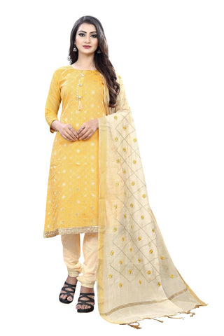 Yellow Jacquard Embroidered Straight Cut Suit