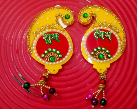 Decorative Labh Shubh Door or Wall Sticking Showpiece