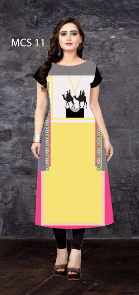 American Crepe Digital Printed Straight Cut Kurti