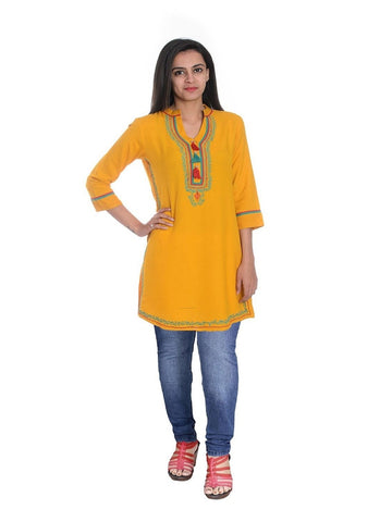 Trendy Style Yellow Yellow Color Cotton Kurti
