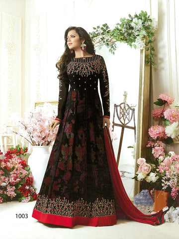 Designer Long Black Color Embroidered Anarkali Suits