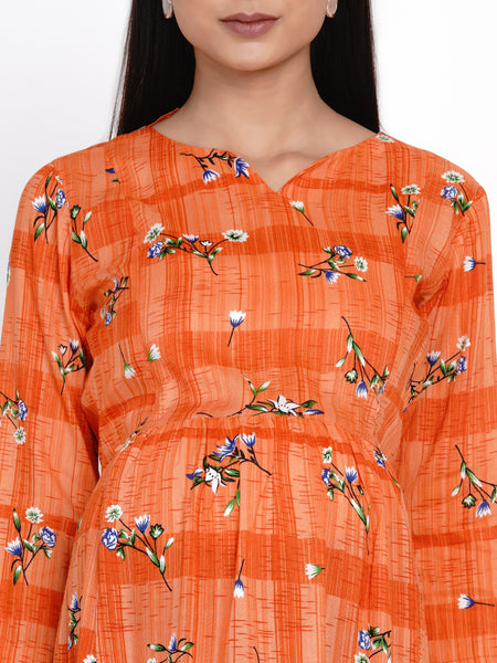 Orange A-Line Rayon Maternity Kurti with Palazzo