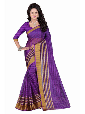 Poly Cotton Purple Weaving  Saree With Blouse