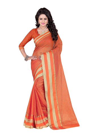Poly Cotton Orange Weaving  Saree With Blouse