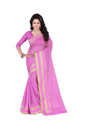 Poly Cotton Light Pink Weaving  Saree With Blouse