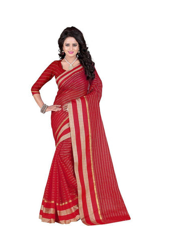 Poly Cotton Red Weaving  Saree With Blouse