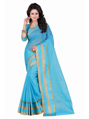 Poly Cotton Sky Blue Weaving  Saree With Blouse