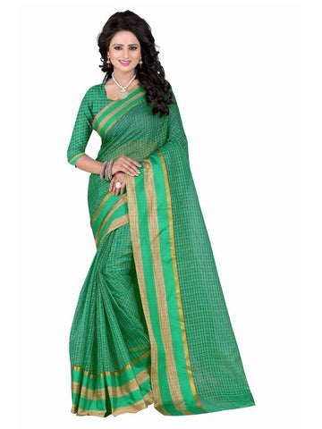 Poly Cotton Green Weaving  Saree With Blouse