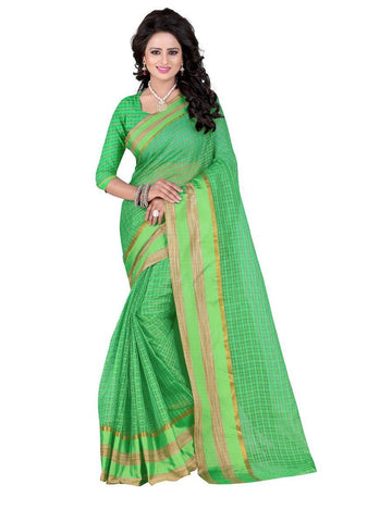 Poly Cotton Light Green Weaving  Saree With Blouse