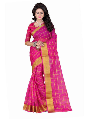 Poly Cotton Pink Weaving  Saree With Blouse