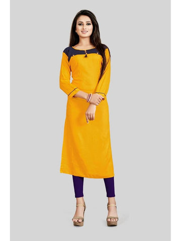 Designer Yellow Color Rayon Plain Straight Cut Kurti