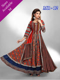 Designer Multi Color Chanderi Cotton Anarkali Kurti