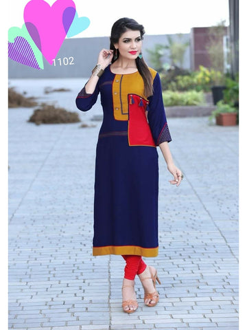 Designer Navy Blue Color Rayon Straight Cut Kurti with Fancy Latkan and Button