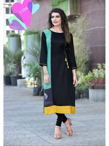 Designer Black Color Rayon Straight Cut Kurti with Fancy Latkan and Button