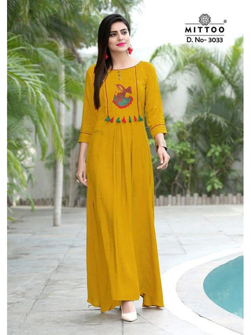 Designer Yellow Color Heavy Slub Rayon Long Straight Cut Kurti
