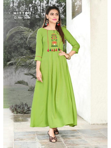 Designer Parrot Green Color Heavy Slub Rayon Long Straight Cut Kurti