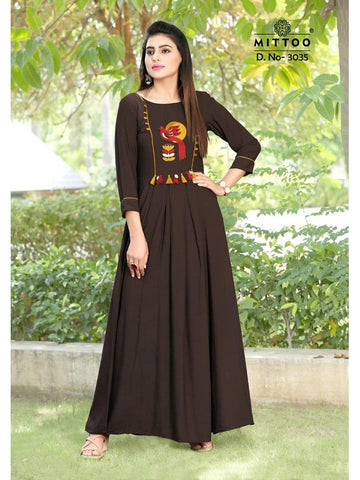 Designer Brown Color Heavy Slub Rayon Long Straight Cut Kurti