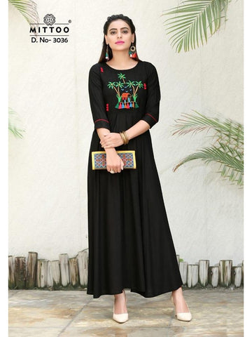 Designer Black Color Heavy Slub Rayon Long Straight Cut Kurti