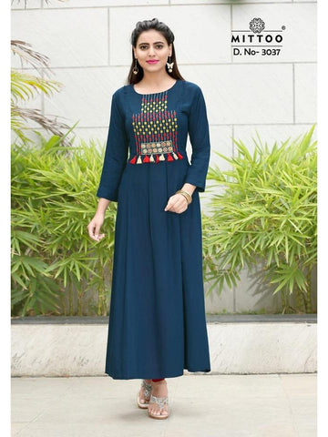 Designer Teal Color Heavy Slub Rayon Long Straight Cut Kurti