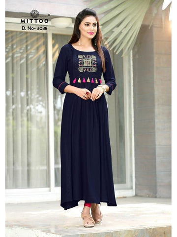 Designer Royal Blue Color Heavy Slub Rayon Long Straight Cut Kurti