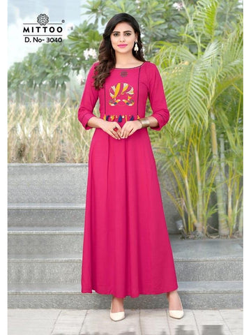 Designer Rani Pink Color Heavy Slub Rayon Long Straight Cut Kurti
