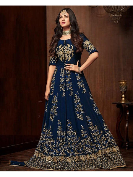 Designer Blue Color Faux Georgette Embroidered Work Anarkali Suit