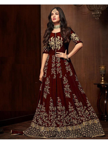 Designer Maroon Color Faux Georgette Embroidered Work Anarkali Suit