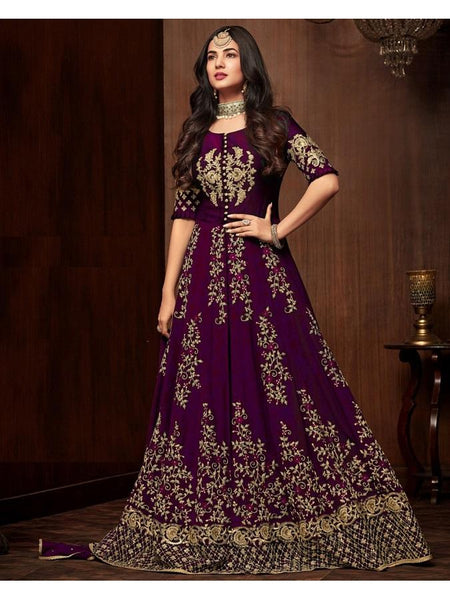 Designer Purple Color Faux Georgette Embroidered Work Anarkali Suit