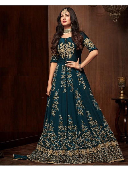 Designer Teal Color Faux Georgette Embroidered Work Anarkali Suit