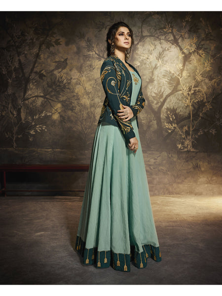 Designer and Beautiful Sea Green Color Anarkali Suits