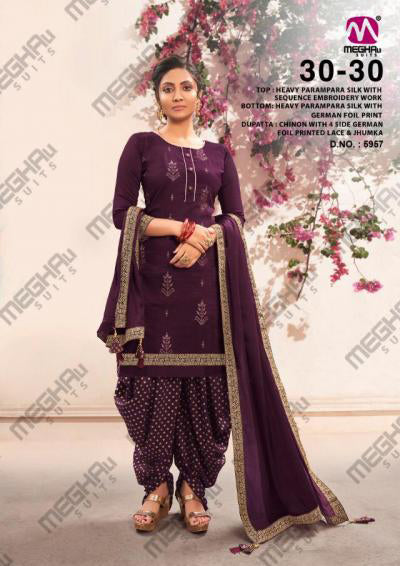 Purple Parampara Silk Sequence Embroidered Patiala Suit