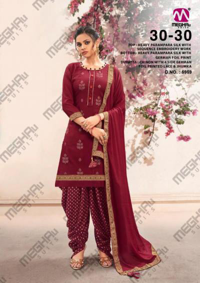 Maroon Parampara Silk Sequence Embroidered Patiala Suit