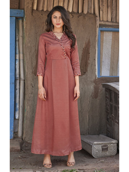 Designer and Beautiful Brown Color Anarkali Kurti