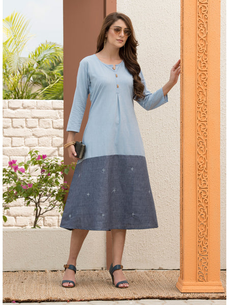 Designer and Beautiful Light Blue & Grey Color Dress Type Straight Cut Kurti