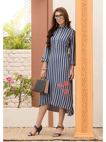 Designer and Beautiful Blue & Grey Color Dress Type Straight Cut Kurti