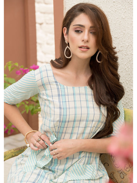 Designer and Beautiful Cream & Sky Blue Color Dress Type Straight Cut Kurti