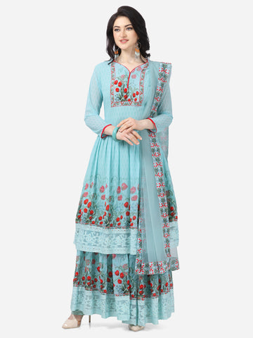 Designer Sky Blue Faux Georgette Digital Printed Anarkali Suit